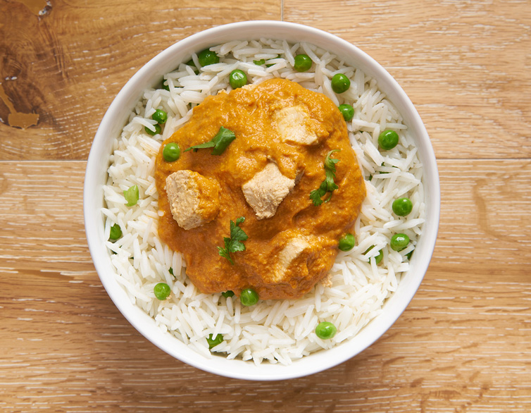 BUTTER CHICKEN WITH PEAS PILAF
